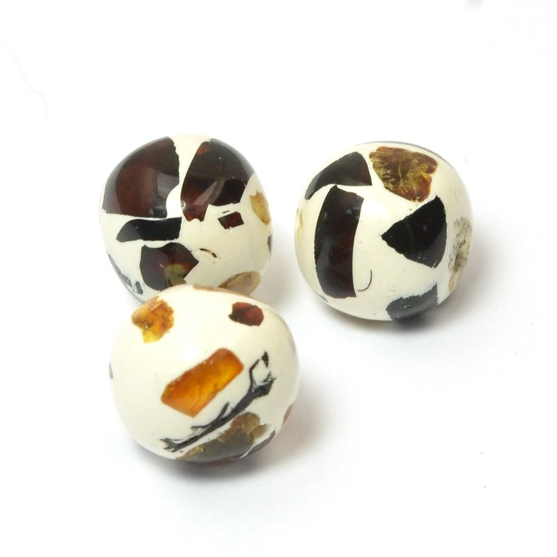 s59745 Stone Beads - 9.5 mm Round - Amberlies