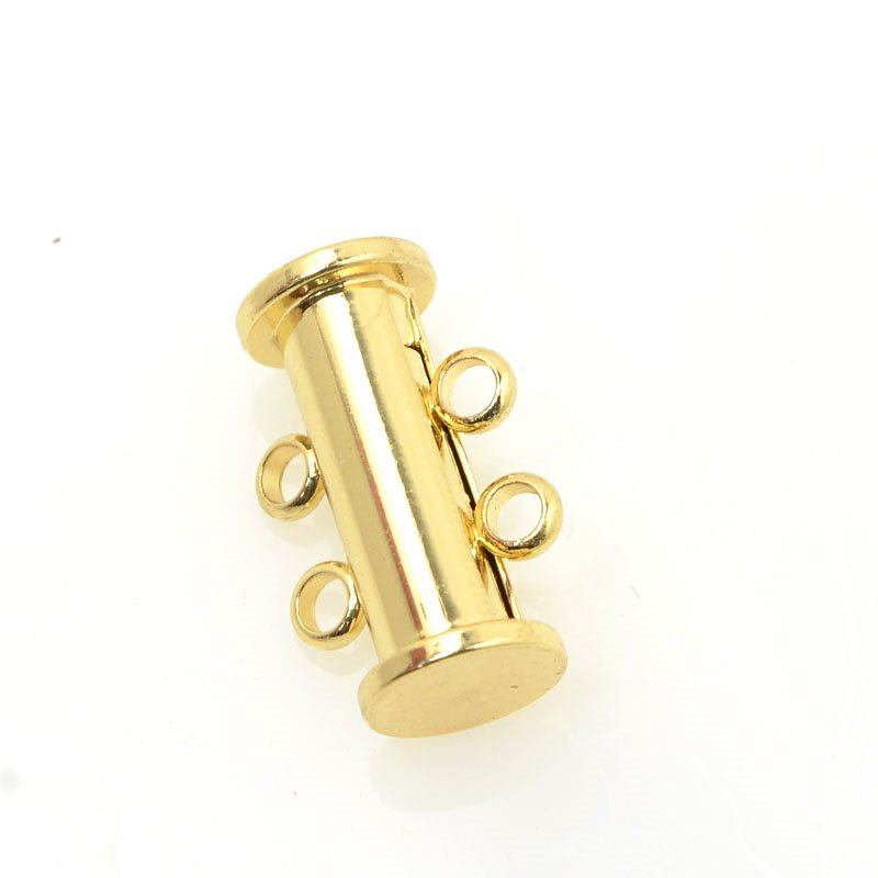 s60194 Findings - Clasps - 2 Strand Magnetic Tube Clasp - Bright Gold Plated
