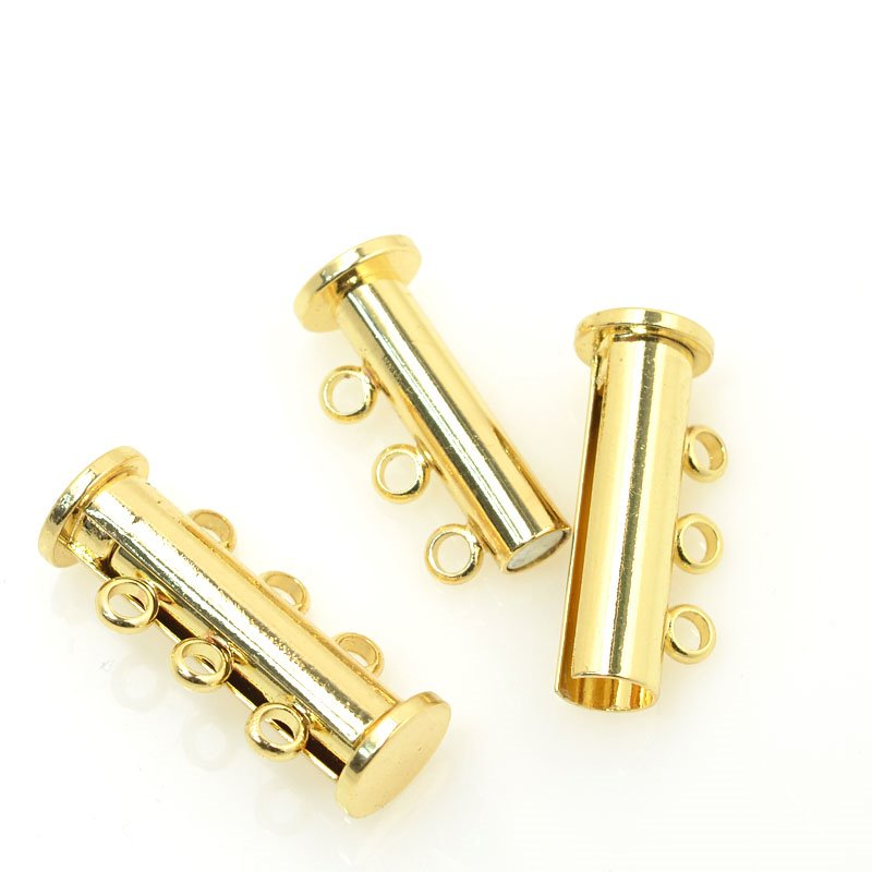 s60195 Findings - Clasps - 3 Strand Magnetic Tube Clasp - Bright Gold Plated