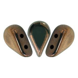 s60363 Czech Shaped Beads - 2 Hole Amos par Puca - Dark Bronze