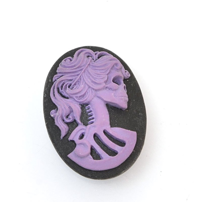 s60392 Resin Cameo Cabochon - 18 x 25 mm Skeleton Girl - Nightshade Purple / Black