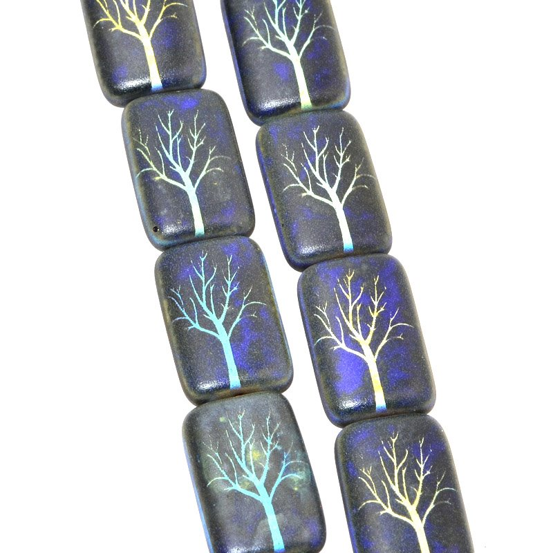 s60408 Glass Beads - 12 x 20 mm Flat Tablet - Laser Etched - Spooky Tree (Strand 6)