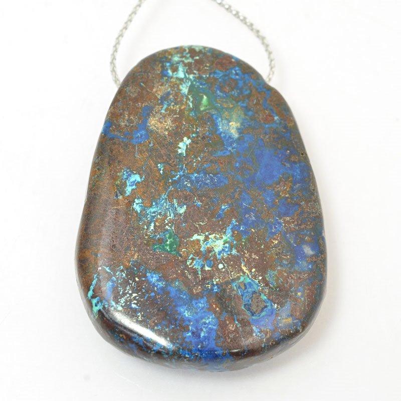 s60438 Stone Pendant - OOAK - 31 x 46 mm Freeform - Azurite