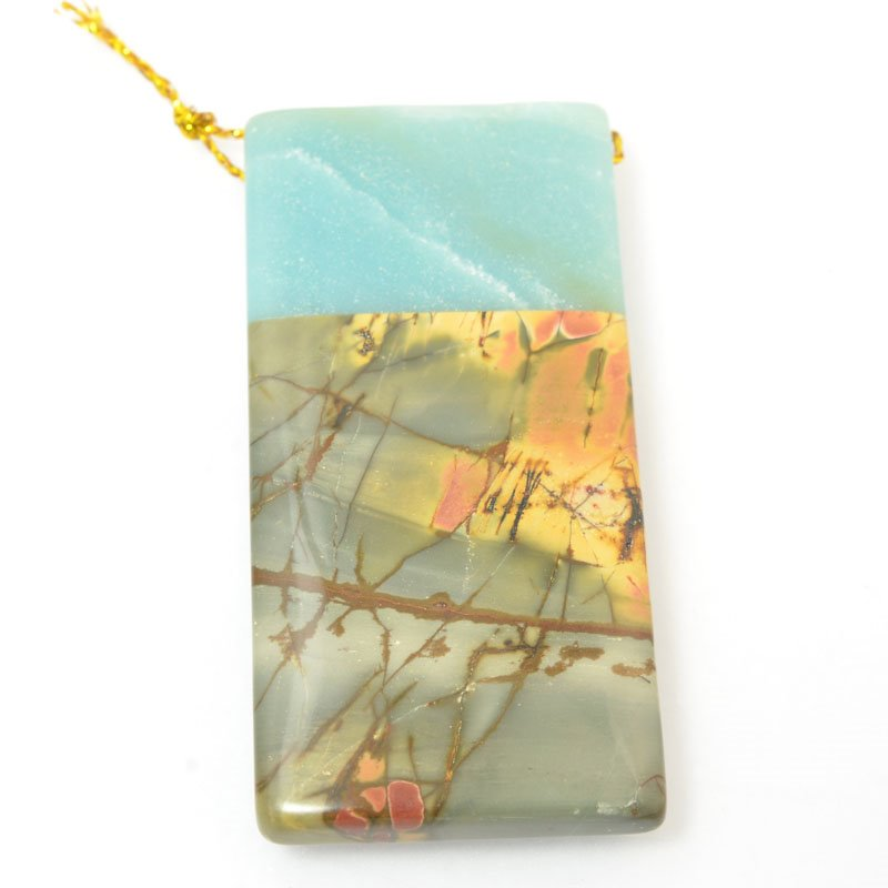 s60441 Stone Pendant - OOAK - Rectangle - Amazonite / Red Creek Jasper