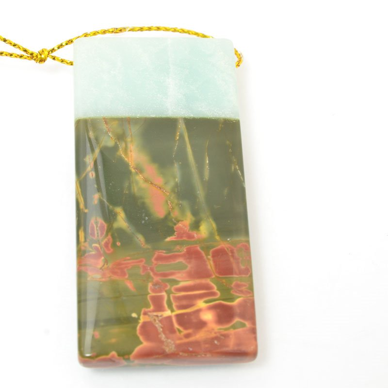 s60442 Stone Pendant - OOAK - Rectangle - Amazonite / Red Creek Jasper