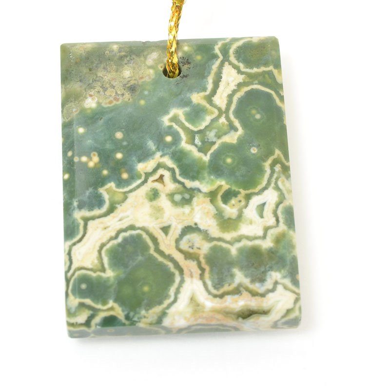 s60446 Stone Pendant - OOAK - Rectangle - Ocean Jasper