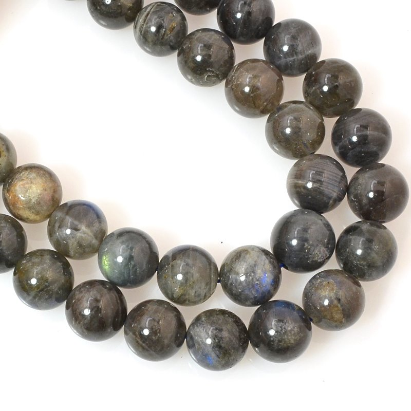 s60467 Stone Beads - 10 mm Round - Labradorite Dark (strand)