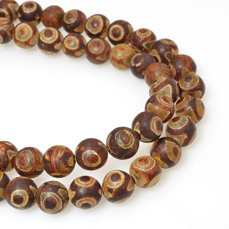 s60471 Stone Beads - 8 mm Round - Matte Dark Dzi Agate (strand)