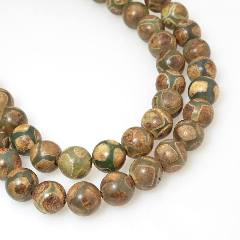 s60472 Stone Beads - 8 mm Round - Matte Cool Dzi Agate (strand)