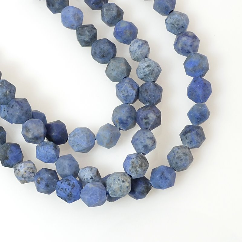 s60473 Stone Beads - 6 mm Star Cut Round - Matte Dumortierite (strand)