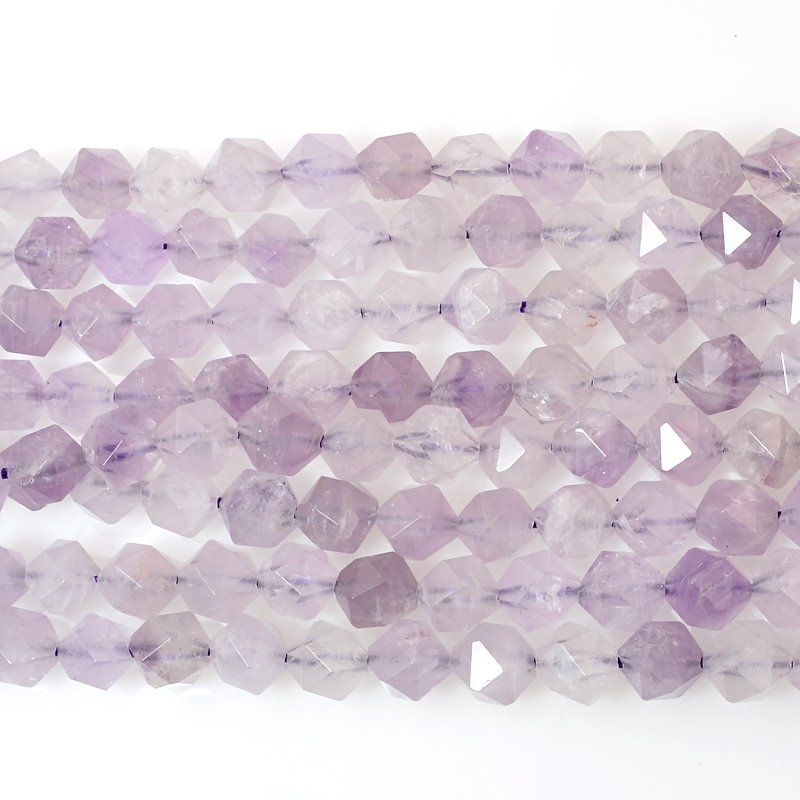 s60474 Stone Beads - 8 mm Star Cut Round - Lavender Amethyst (strand)