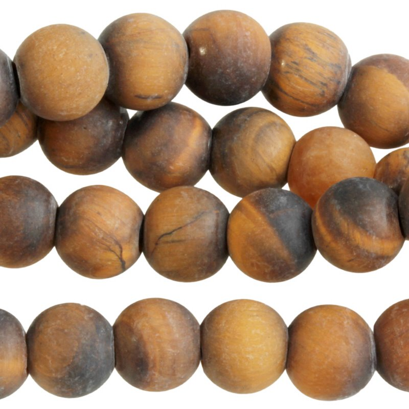 s60496 Stone Beads - 8 mm Big Hole Round - Matte Tiger Eye (strand)
