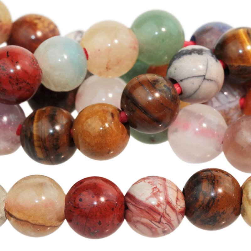s60500 Stone Beads - 8 mm Big Hole Round - Mixed Stone (strand)