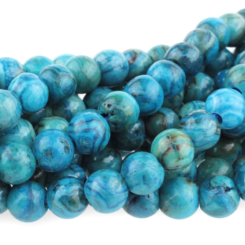 s60502 Stone Beads - 8 mm Big Hole Round - Blue Crazy Lace Agate (strand)
