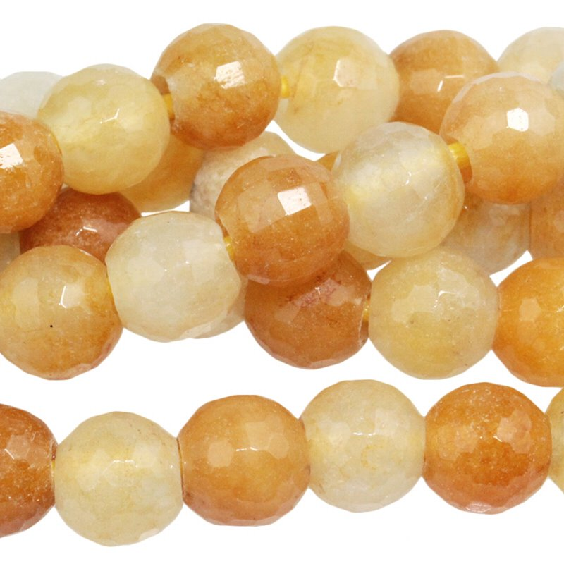 s60503 Stone Beads - 8 mm Big Hole Faceted Round - Yellow Jade (strand)