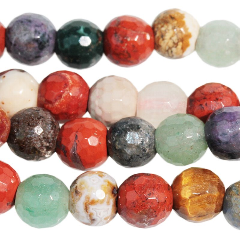 s60504 Stone Beads - 8 mm Big Hole Faceted Round - Mixed Stone (strand)