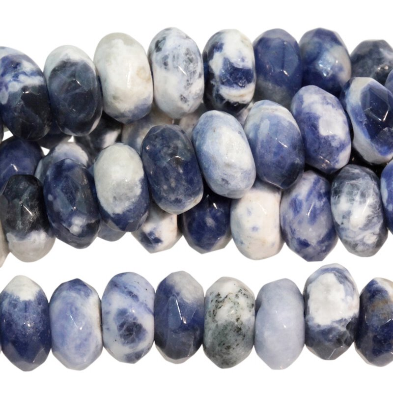 s60507 Stone Beads - 8 mm Big Hole Faceted Rondelle - Sodalite (strand)