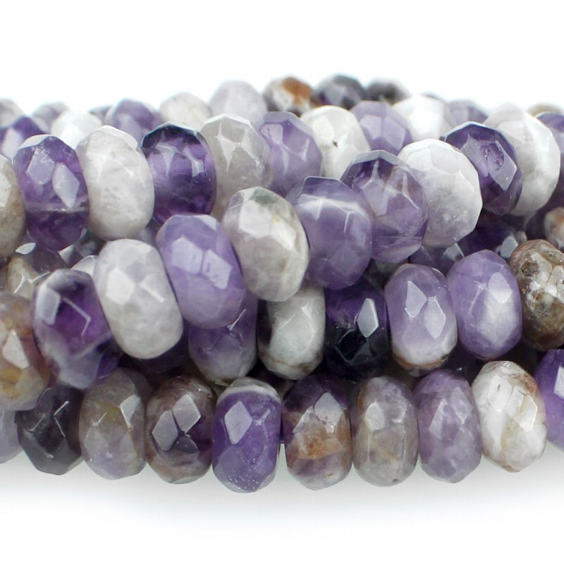 s60508 Stone Beads - 8 mm Big Hole Faceted Rondelle - Dog Tooth Amethyst (strand)