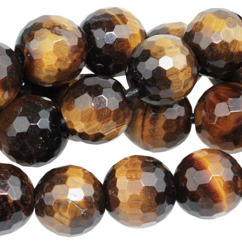 s60512 Stone Beads - 10 mm Big Hole Faceted Round - Tiger Eye (strand)