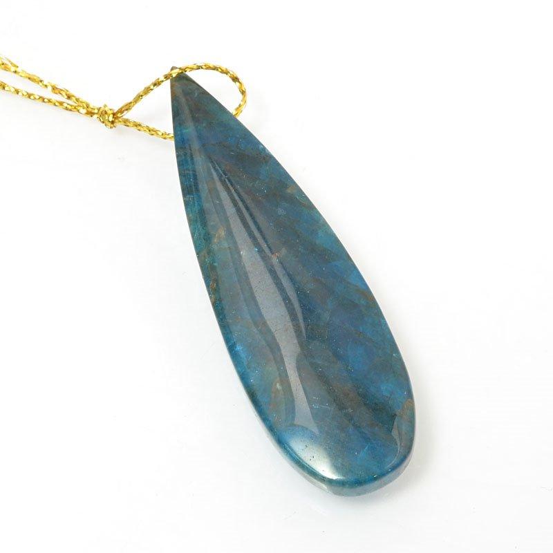 s60518 Stone Pendant - OOAK - 58 mm Teardrop - Blue Apatite