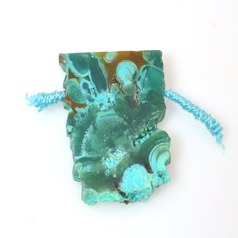 s60560 Stone Pendant - OOAK -  Slab - Gem Silica Chrysocolla