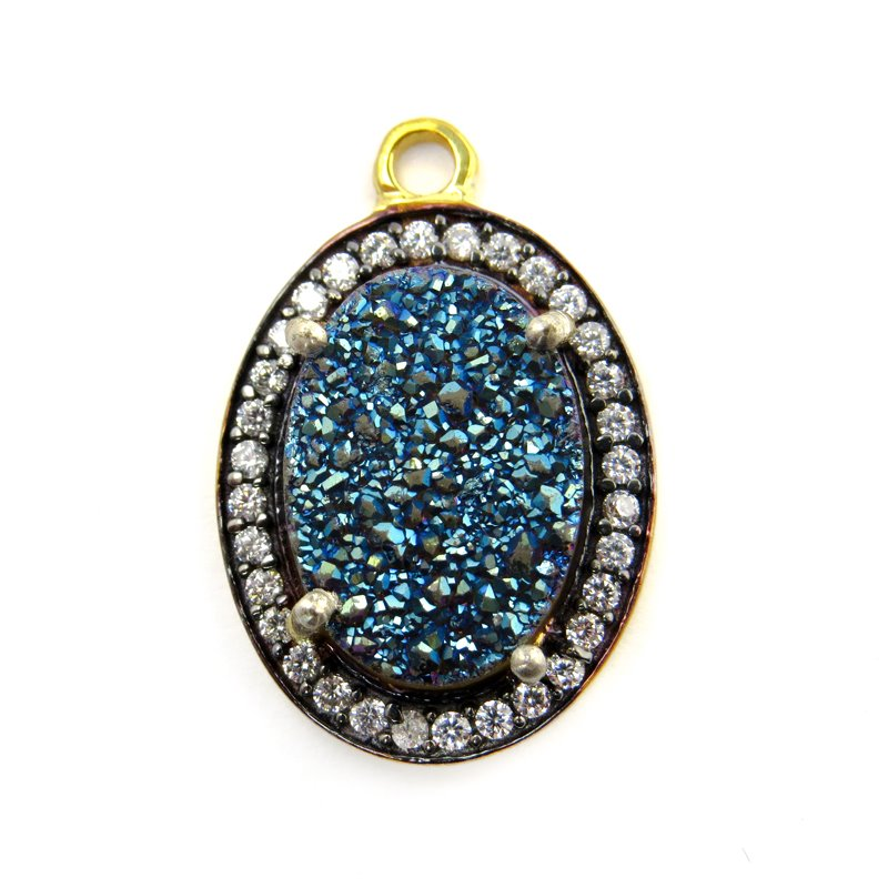 s60635 Stone Pendant - Limited Edition -  Druzy Oval - Steel Blue Druzy