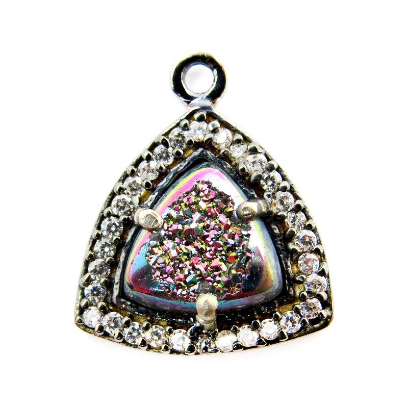 s60638 Stone Pendant - OOAK -  Druzy Triangle - Aurora