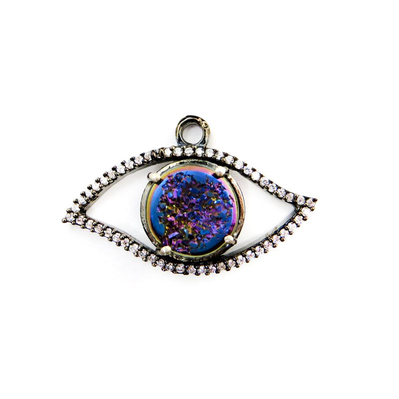 s60639 Stone Pendant - Limited Edition -  Druzy Eye - Electric Eggplant