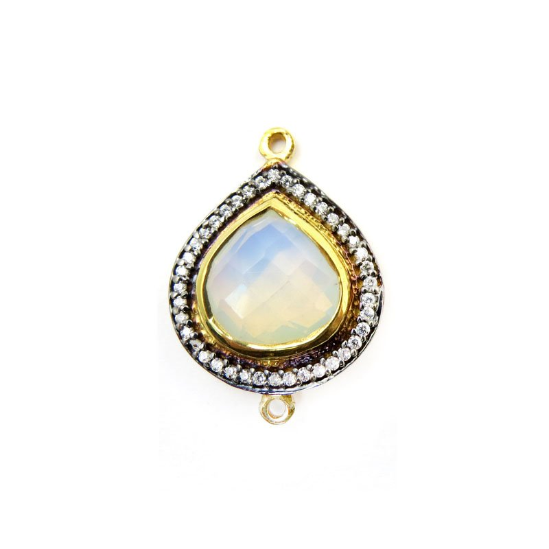 s60640 Stone Pendant - Limited Edition -  Faceted Teardrop Link - White Opal Moonstone