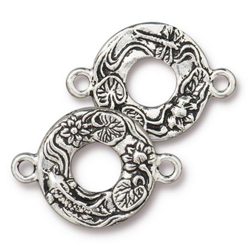 s60740 Findings - Link -  Circle Koi - Antiqued Silver