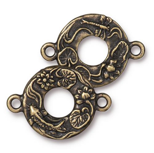 s60742 Findings - Link -  Circle Koi - Brass Oxide