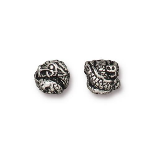 s60761 Metal Bead / Bail - 8mm Dragon Bead - Antiqued Silver
