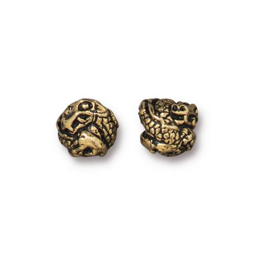 s60762 Metal Bead / Bail - 8mm Dragon Bead - Antique Gold