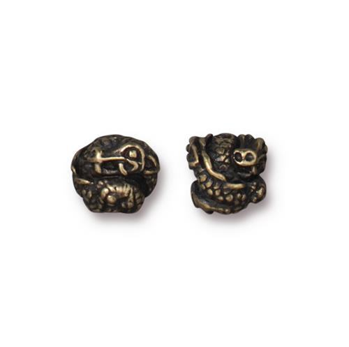 s60763 Metal Bead / Bail - 8mm Dragon Bead - Brass Oxide