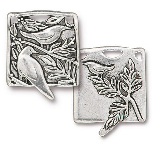 s60764 Charm/Pendant -  Botanical Birds - Antiqued Silver