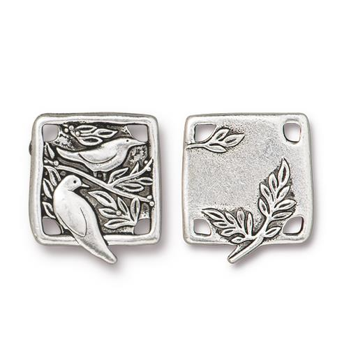 s60766 Finding - Link -  Botanical Birds - Antiqued Silver