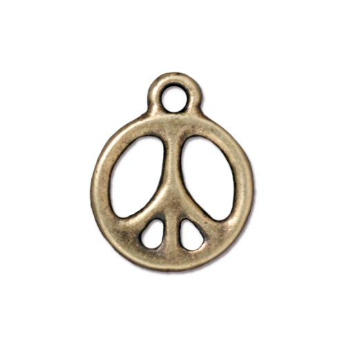 s60776 Metal Charm/Drop -  60s Peace Symbol - Brass Oxide