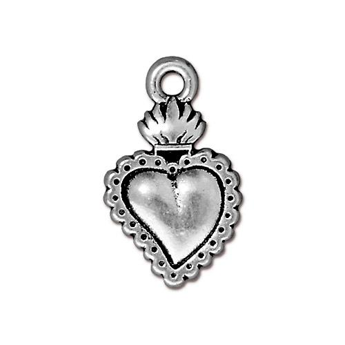 s60777 Metal Charm/Drop -  Heart Milagro - Antiqued Silver