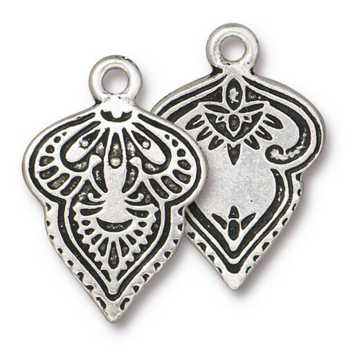 s60780 Metal Charm/Drop -  Mehndi - Antiqued Silver