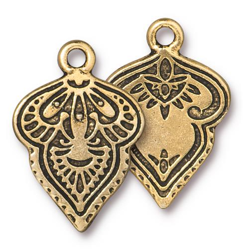 s60781 Metal Charm/Drop -  Mehndi - Antique Gold