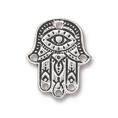 s60782 Finding - Link -  Hamsa Hand - Antiqued Silver