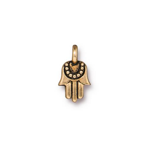 s60794 Charm - Mini Hamsa Hand - Antique Gold
