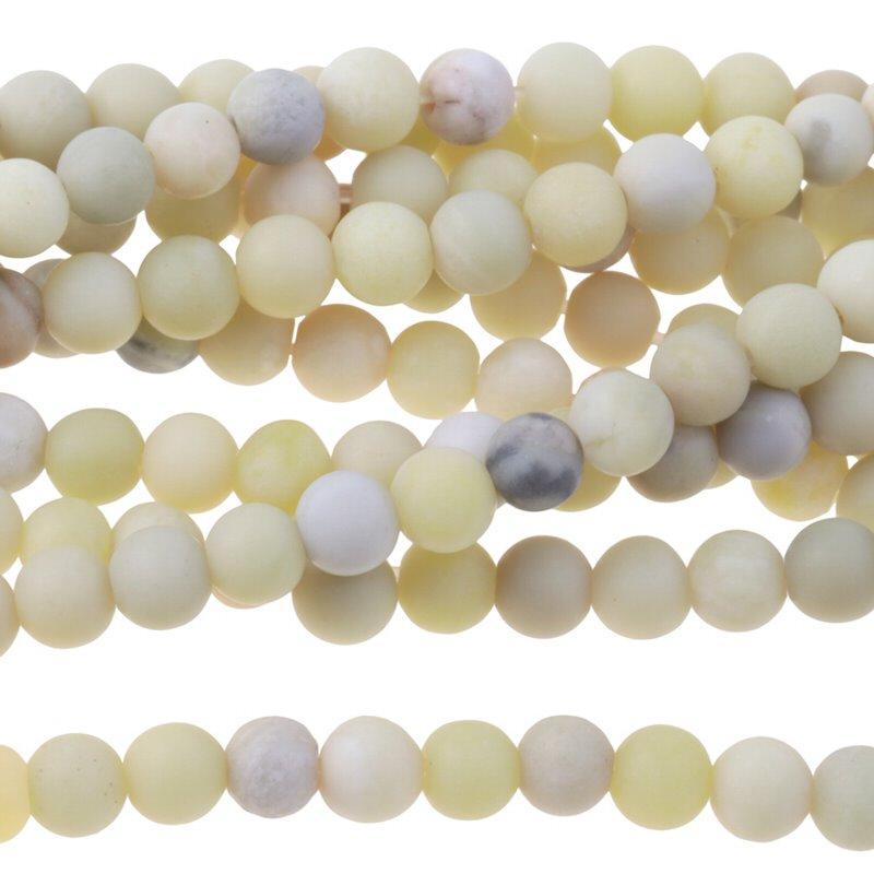s60881 Stone Beads - 4mm Round - Matte Australian Butter Jasper (strand)