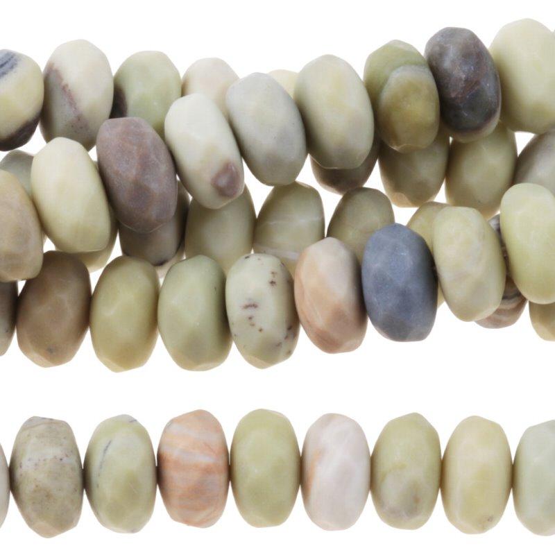 s60885 Stone Beads - 8mm Faceted Rondelles - Matte Australian Butter Jasper (strand)
