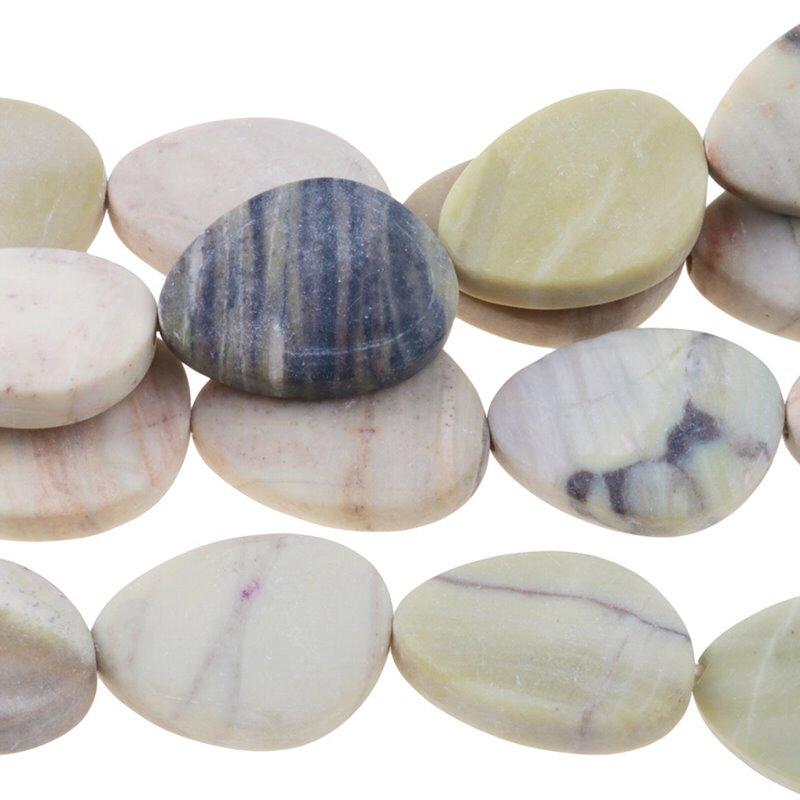 s60886 Stone Beads - 13x18mm Freeform Oval - Matte Australian Butter Jasper (strand)