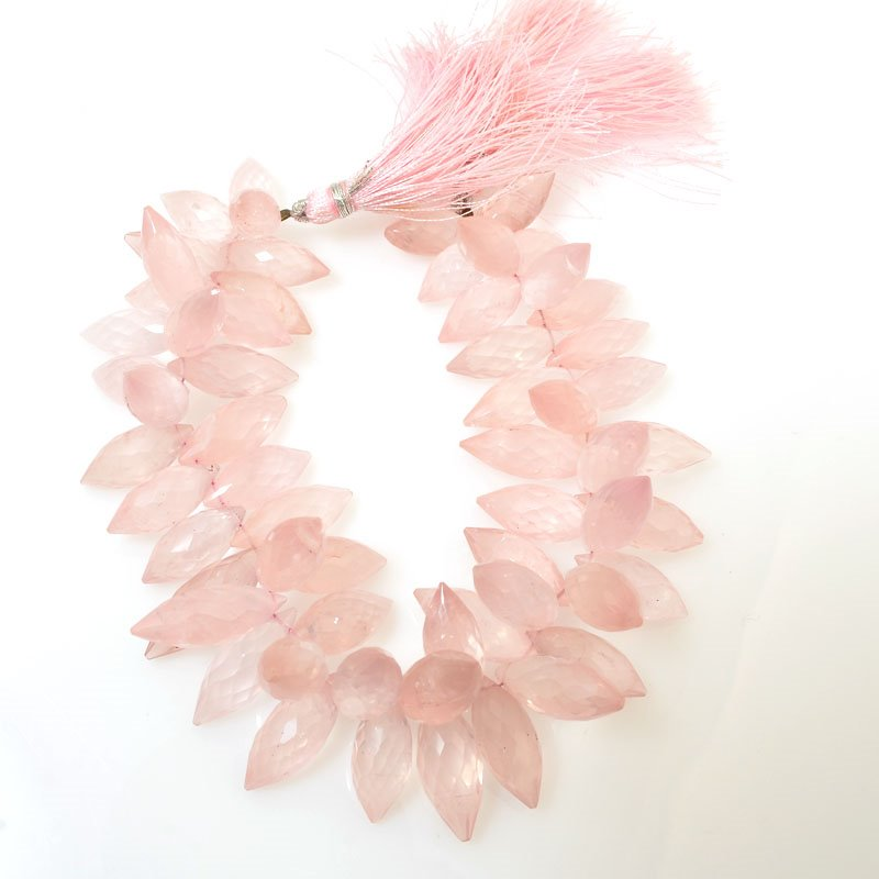 s61023 Stone Beads OOAK -  Faceted Pointed Briolettes - Rose Quartz (strand)