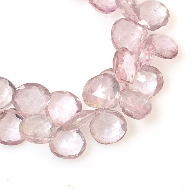 s61024 Stone Beads OOAK -  Faceted Drops - Rose Quartz (strand)