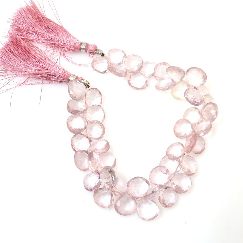 s61025 Stone Beads OOAK -  Faceted Drops - Rose Quartz (strand)