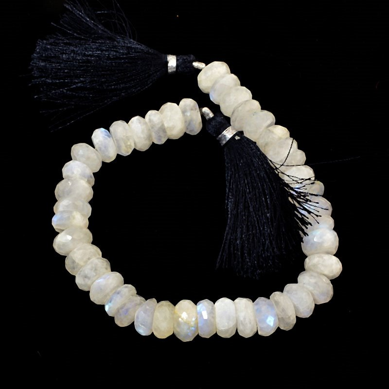 s61026 Stone Beads OOAK -  Faceted Rondelles - Moonstone (strand)