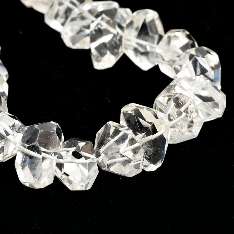 s61033 Stone Beads - Limited Edition -  Faceted Nuggets - Rock Crystal Quartz (strand)